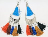 Brown Coral Bell Tassels Hippie Earrings