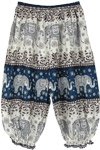Cyan Blue Kids Harem Pants Elephant Print