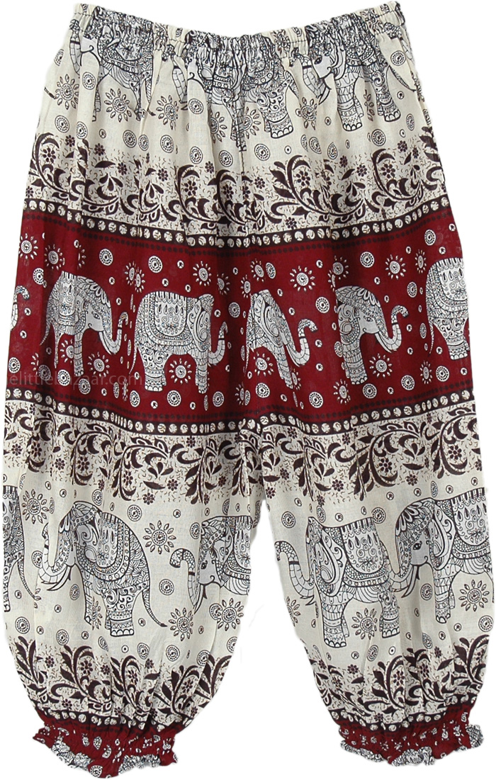 Red Rust Kids Harem Pants Elephant Print