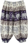 Dark Navy Blue Kids Harem Pants Elephant Print
