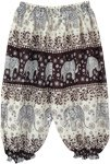 Elephant Print Toddler Harem Pants in Black and White