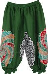 Solid Green Kids Harem Pants Mandala Print