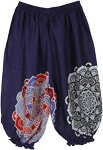 Solid Navy Blue Kids Harem Pants Hippie Print