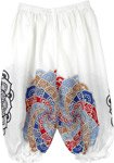 White Kids Harem Hippie Pants Mandala Print