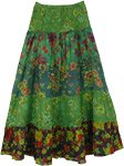 Lush Green Floral Printed Cotton Little Girls Skirt