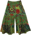 Rainforest Green Hippie Little Girls Wide Leg Pants