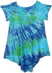 Blue Ozone Tie Dye Smalls Girls Hippie Trapeze Dress