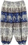Elephant Print Hippie Harem Pants in Blue
