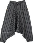 Gray Striped Handloom Cotton Kid Aladdin Pants