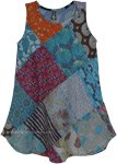 Blue Toned Multi Patchwork Sleeveless Cotton Dress