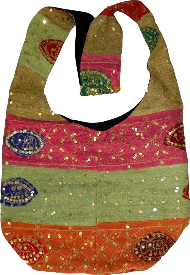 Ethnic handbag purse, Patchwork Sequined Handbag Purse