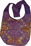 Purple Golden Handbag with Sequins