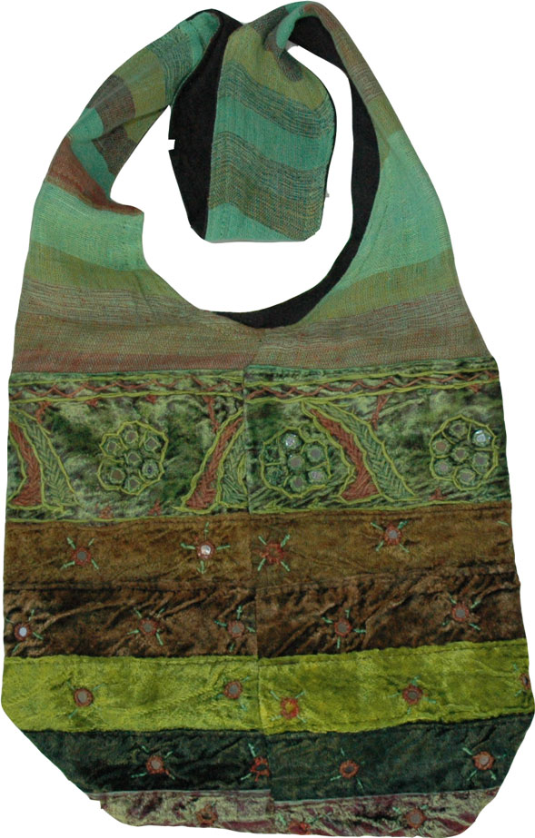 Handmade Handbag in Green , Bohemian Style Shoulder Handbag