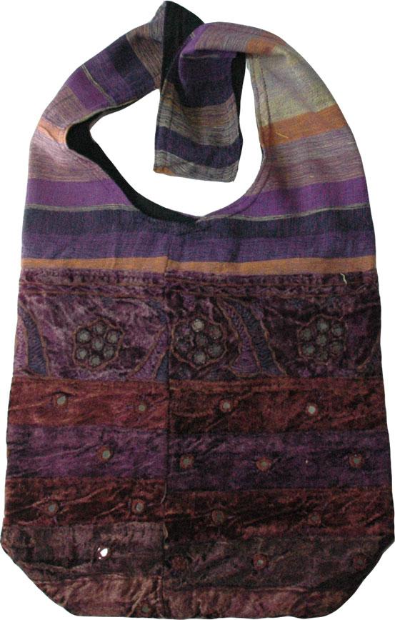 Velvet Handbag with Mirrors and Embroidery, Eggplant Velvet Womens Handbag