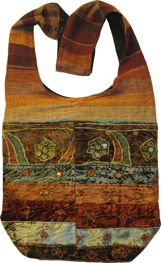 Handmade Handbag in Multicolor, Bohemian Style Shoulder Handbag