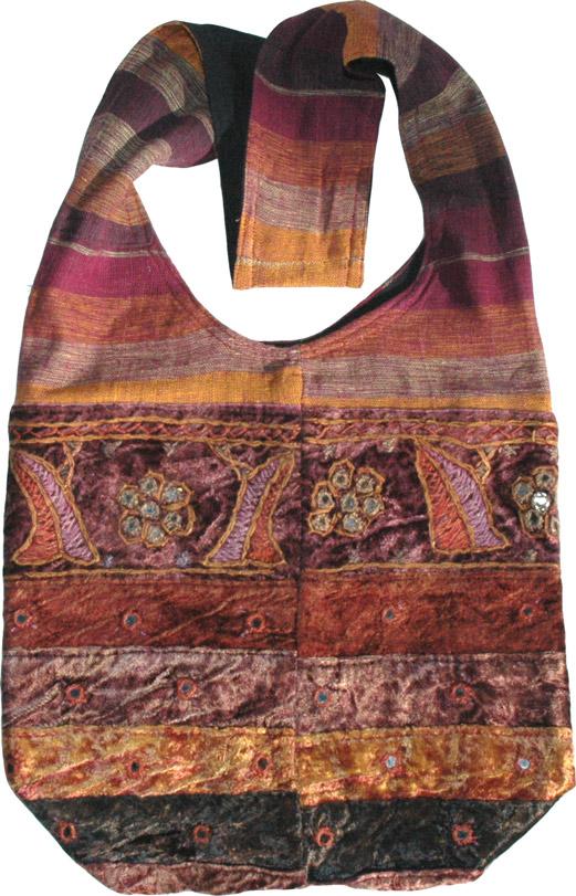 Ethnic handbag with mirrors, Tawny Port Velvet Trendy Handbag