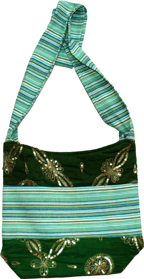 Sequined Striped Sling Cloth Bag, Palm Leaf Striped College Sling Bag