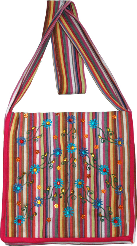 Embroidered Striped Sling Cloth Bag, Multi Striped College Sling Bag