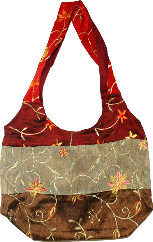 Silk Purse Bag , Embroidered Earthen Silk Purse