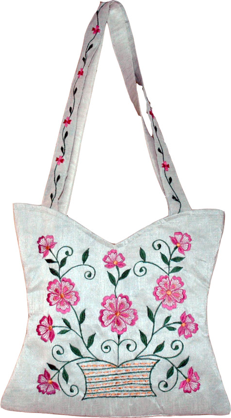 Floral Embroidered Handbag, White Floral Silk Handbag