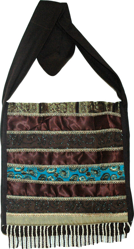 Striped Brocade Quilted Handbag, Millbrook Sling Bag with Satin
