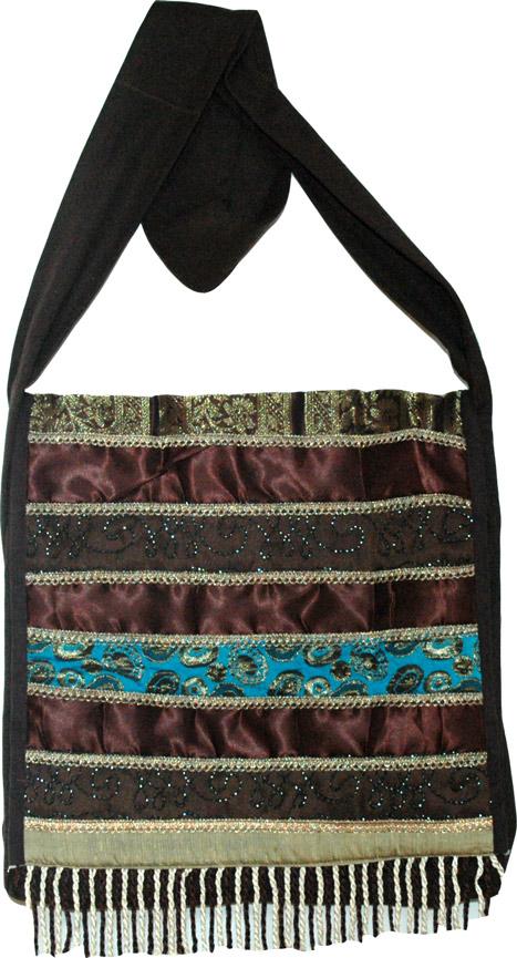 Striped Brocade Quilted Handbag, Millbrook Sling Bag with Satin