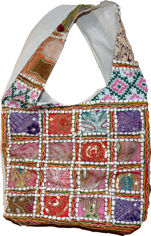 Multicolor Bohemian Handbag, Sequined Patchwork Purse