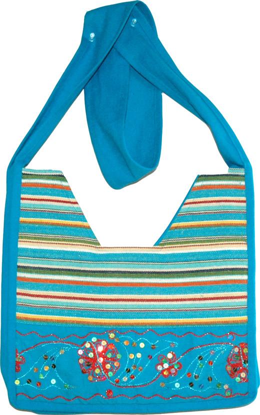 Womens Handbag in Multicolor, Bahama Blue Striped Handbag