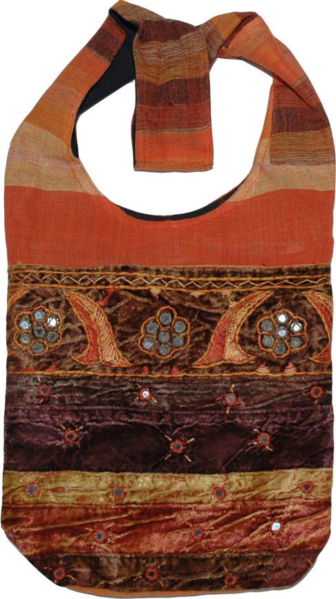 Ethnic handbag with mirrors, Fiery Velvet Trendy Handbag