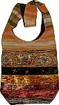 Patchwork Velvet Boho Handbag with Mirrors Medium Size
