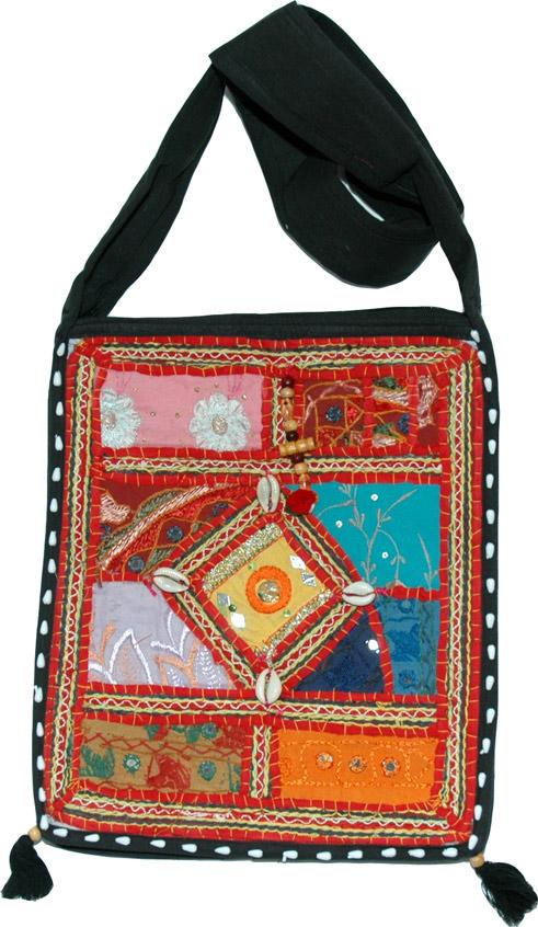 Mirrorwork Patchwork Fabric Handbag, Black Embroidered Patchwork Handbag