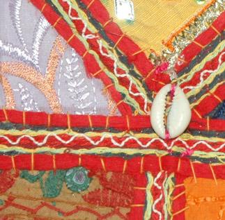 Black Embroidered Patchwork Handbag