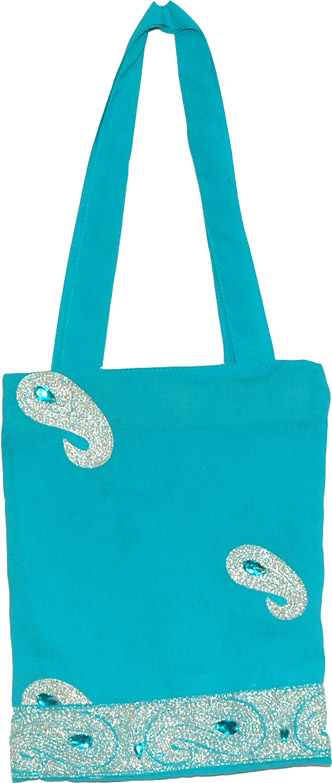 Small Turquoise Party Bag, Georgette Party Bag with Embroidery