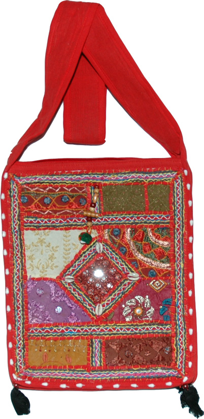 Cloth Handbag Purse Indian, Red Patchwork Bohemian Handbag