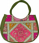 Green Patchwork Sequined Purse Bag