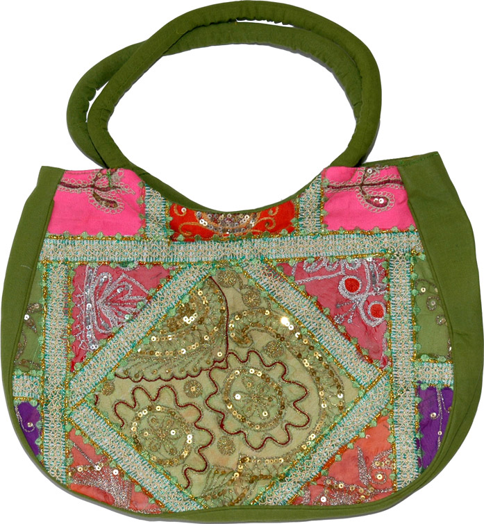 Handbag womens in rich and vibrant colors, Green Patchwork Sequined Purse Bag