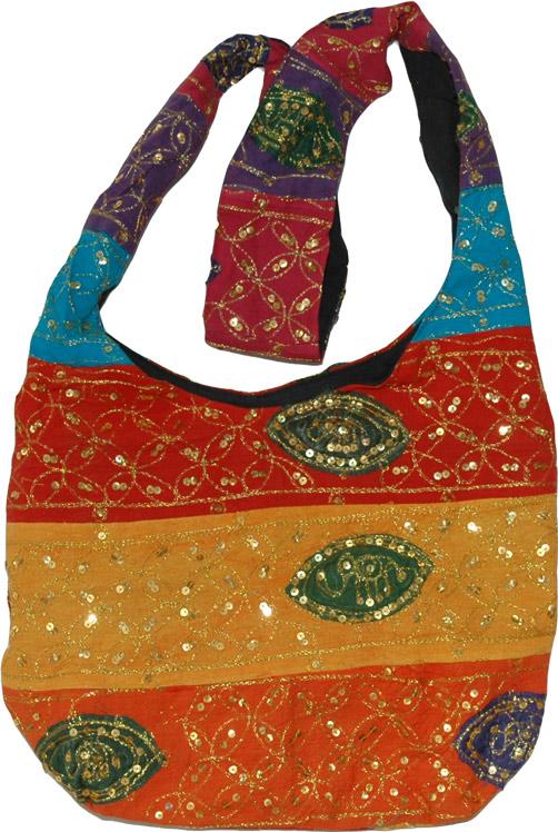 Festive handbag purse, Book Bag with Sequins