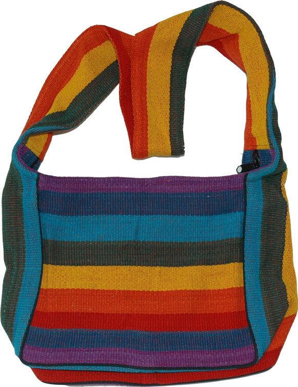 Cotton Rainbow Shoulder Bag Shop for bags skirts jewelry at The Little Bazaar from thelittlebazaar.com
