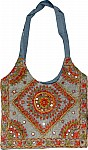 Gray Embroidered Handbag Purse