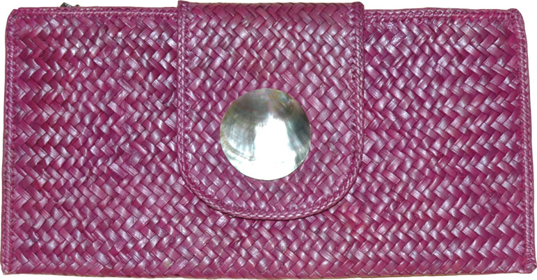 Clutch Purse in Dark Pink, Cane Weaved Clutch Purse