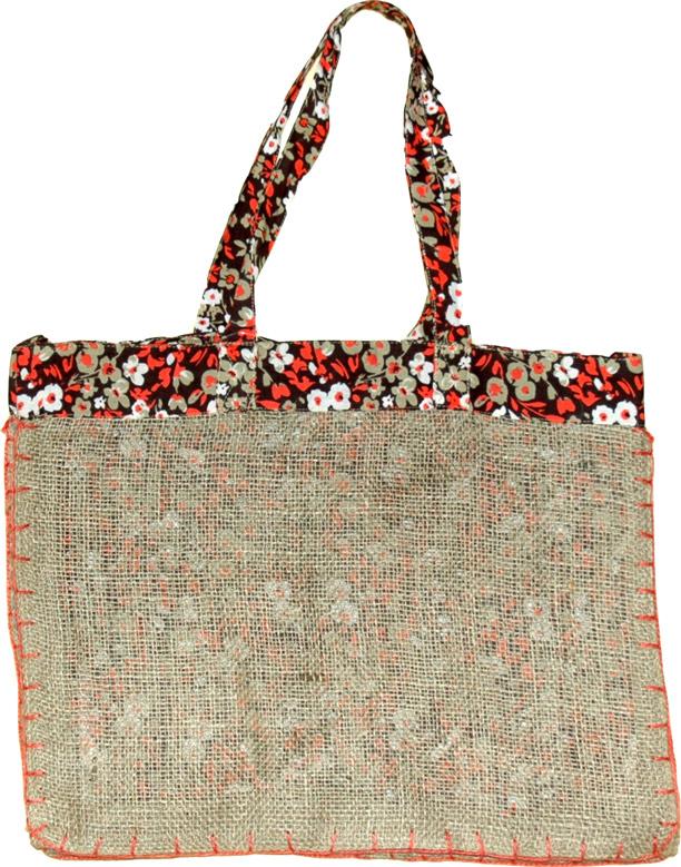 Large Jute Shopping Bag, Reversible Burlap Reusable Shopping Bag