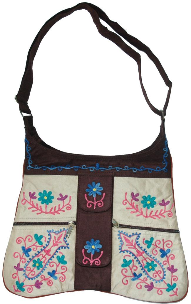 Kashmiri Embroidery Shoulder Bag, Hip Suede Fashion Bag
