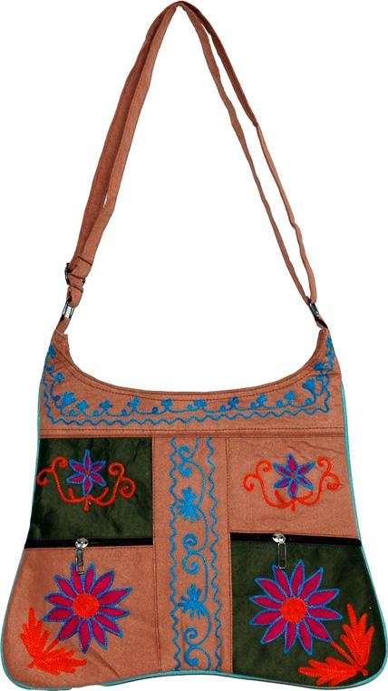 Floral Embroidered Handbag, Faux Leather Shoulder Bags