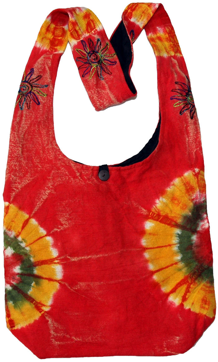 Tie Dye Red Indian Shoulder Bag , Tie Dye Solar Flare Shoulder Bag