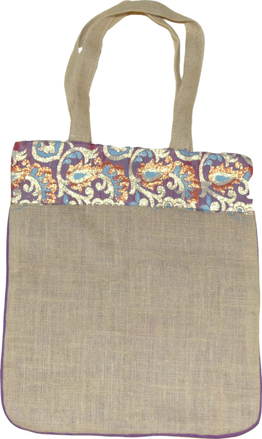 Jute Shopping Bag, Burlap Bag with Brocade Trim