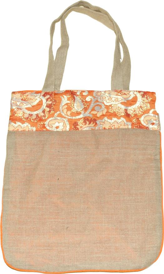 Jute Shopping Bag, Jute Bag with Brocade Trim