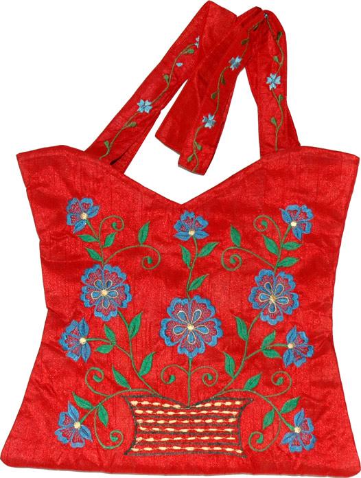 Floral Embroidered Handbag, Royal Red Floral Silk Handbag