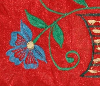 Royal Red Floral Silk Handbag