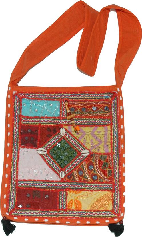 Cloth Handbag Purse Indian, Orange Patchwork Bohemian Handbag