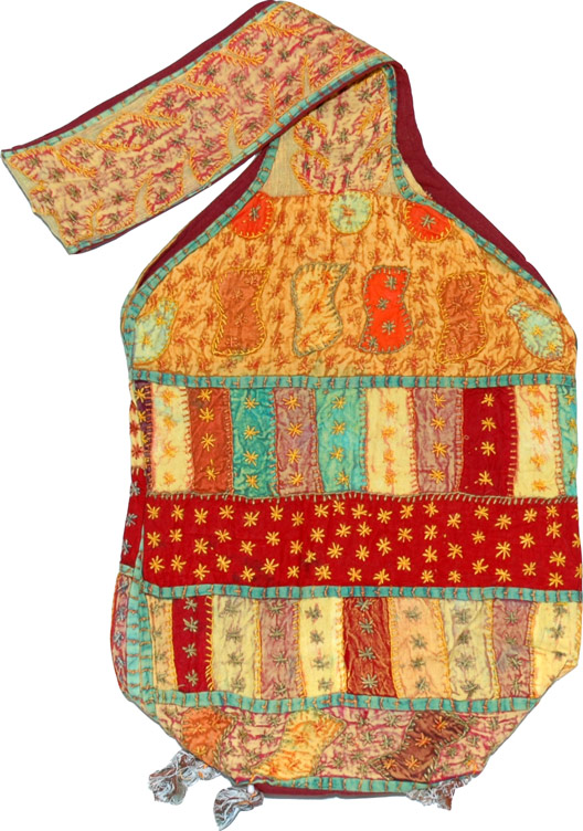 Applique Work Summer Handbag, Stone Wash Cloth Handbag